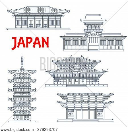 Japanese Temples, Shrines And Japan Pagodas In Nara, Buddhism Architecture Vector Landmarks. Todai-j