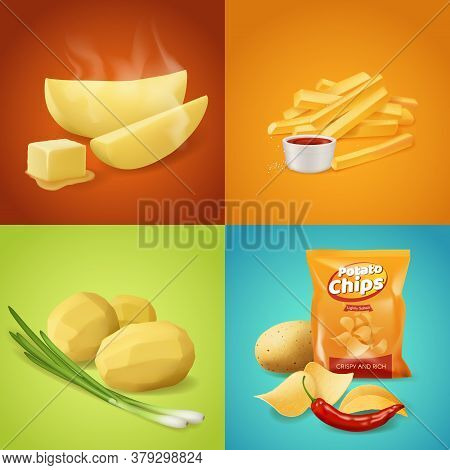 Potato Dishes Vector Food. Whole Boiled Peeled Potato With Green Onion, Baked Slices With Steam And