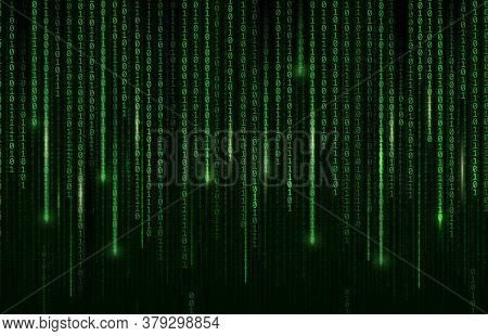 Technology Background, Digital Binary Code Matrix, Vector Computer Cyberspace And Internet Communica