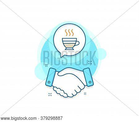 Hot Drink Sign. Handshake Deal Complex Icon. Cafe Creme Icon. Beverage Symbol. Agreement Shaking Han