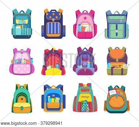 School Bag And Backpack Isolated Vector Icons Of Student Rucksack And Knapsack With Education Equipm
