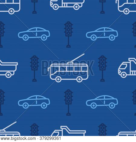 Seamless Pattern With Car And Tram Icons. Road Traffic Background