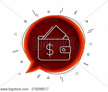 Wallet Line Icon. Chat Bubble With Shadow. Affordability Sign. Cash Savings Symbol. Thin Line Wallet
