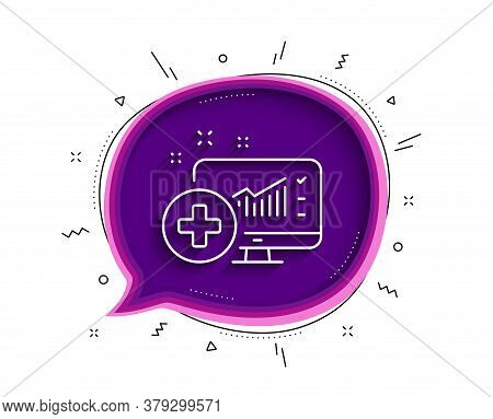 Medical Analytics Line Icon. Chat Bubble With Shadow. Hospital Statistics Sign. Thin Line Medical An