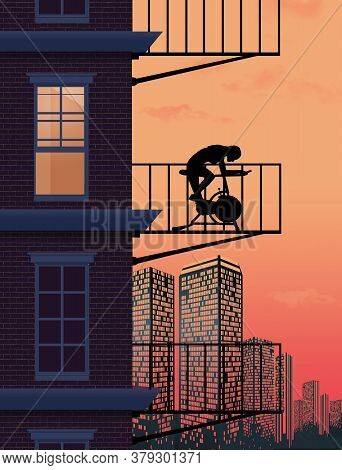 A Young Woman Rides An Execise Bicycle On The Patio Or Fire Escape Outside Her Upstair Aparment In A