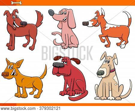 Cartoon Illustration Of Funny Dogs And Puppies Comic Animal Characters Set