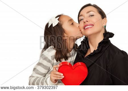 Love Between Mother And Daughter Concept. Mother And Daughter Holding A Red Heart.