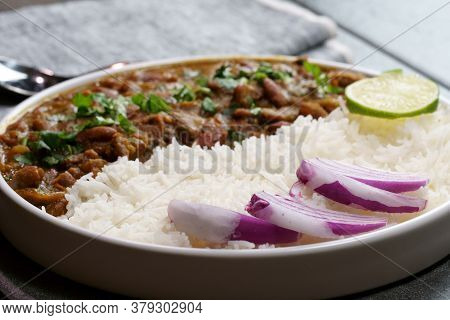 A Platter Of Indian Red Kidney Beans Curry Or Rajma Masala And Rice