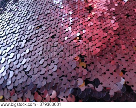 Pink Sequins Pattern Texture Fashion Background. Embellishments On Fabric