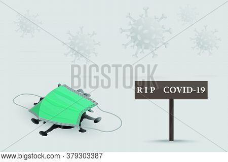 The Coronavirus Or The Dead Covid-19 Was Covered In A Mask With A Mourning Sign And A Spirit Of The