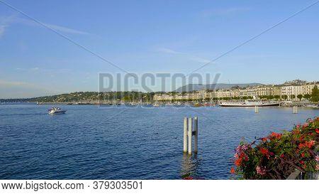 Beautiful Lake Geneva In The City Of Geneva In Switzerland - City Of Geneva, Switzerland - July 8, 2