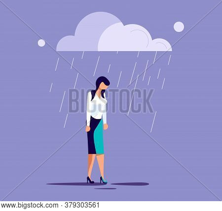 Sad Lonely Woman In Depression Lowered Her Head And Wanders In The Rain. Metaphor Of Psychological C