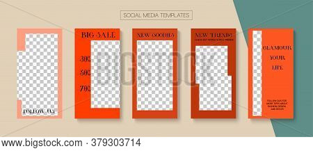 Mobile Stories Vector Collection. Online Shop Polygon Invitation Advert. Funky Sale, New Arrivals St