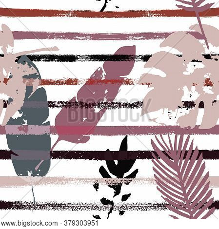 Sailor Stripes Vector Seamless Pattern, Brown Green Khaki Exotic Floral Print. Hand Painted Jungle L