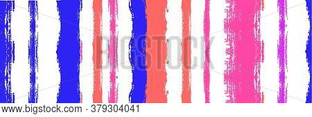 Funky Vertical Stripes Seamless Background. Dirty Vector Watercolor Paint Lines. Torn Graffiti Trace