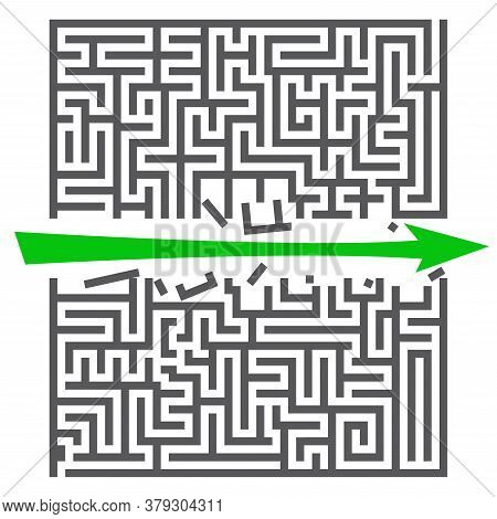 A Square Labyrinth. Success Concept. Maze Game With Green Arrow. Gray Maze For Your Business Project