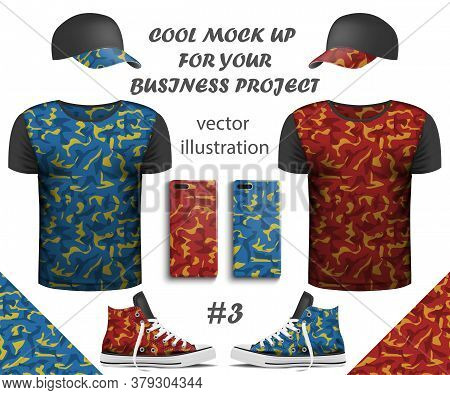 Design Collection Of Realistic T-shirts, Smartphone, Sneakers And Cap Mock Up With Seamless Pattern