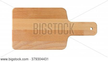 Wooden Cutting Board Isolated On White Background With Clipping Path