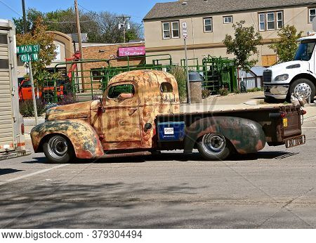 Mandan, North Dakota, July 3, 2020;  The Old Rusty International Pickup With A Hamm\'s Beer Case Is