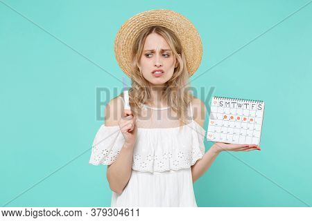 Worried Young Woman Girl In White Dress Hat Hold Periods Calendar For Checking Menstruation Days Pre