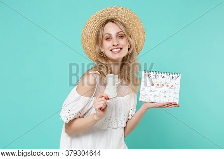 Smiling Young Woman Girl In White Dress Hat Hold Periods Calendar For Checking Menstruation Days San