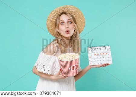Amazed Young Woman Girl In White Dress Hat Hold Periods Calendar For Checking Menstruation Days Buck