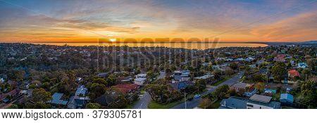 Aerial Panorama Frankston Suburb At Sunset In Melbourne, Australia