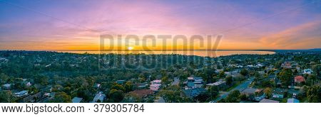 Aerial Panorama Of Port Phillip Bay And Frankston Suburb At Sunset In Melbourne, Australia