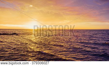 Minimalist Seascape Sunset - Nothing But Skies And Water With Clean Horizon Line