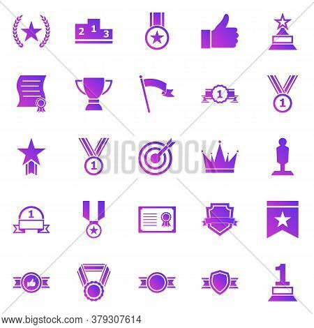 Victory Gradient Icons On White Background, Stock Vector