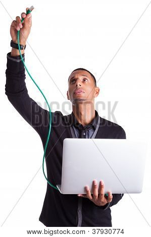 Young African American Computer Scientist Plugin A Ethernet Cable