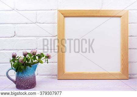 Wooden Square Picture Frame Mockup With Pink Clover