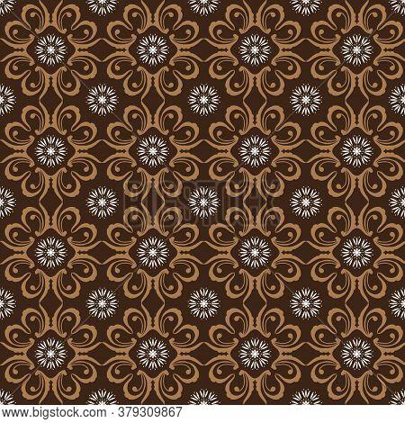 Beautiful Flower Motifs For Indonesian Batik With Very Distinctive Dark Brown Color.