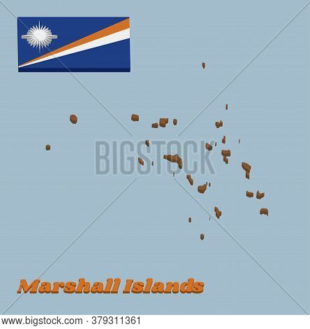3d Map Outline And Flag Of Marshall. A Blue Field With Two Diagonal Stripes Of Orange And White And