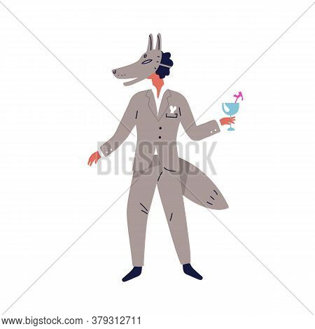 Festive Guy In Wolf Carnival Mask Vector Flat Illustration. Funny Man In Masquerade Costume With Coc