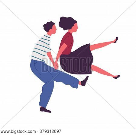Happy Couple Jumping Dancing Together Holding Hands Vector Flat Illustration. Man And Woman Performi