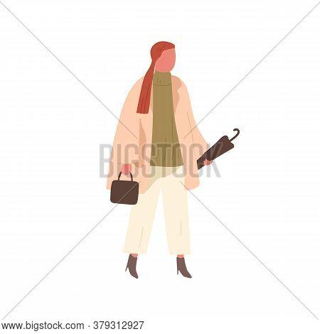 Girl In Trendy Outfit Carrying Umbrella And Handbag Vector Flat Illustration. Stylish Female Walking