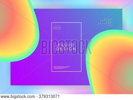 Liquid Fluid. Vivid Gradient Mesh. Vibrant Ui, App Frame. Holographic 3d Backdrop With Modern Trendy