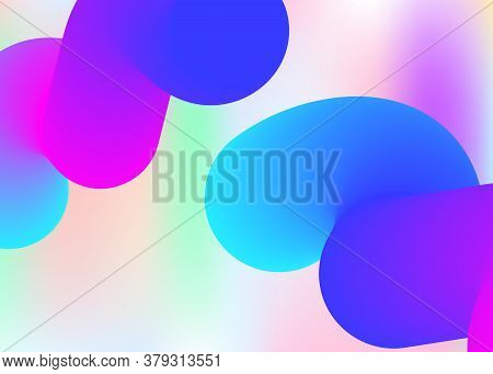 Liquid Fluid. Psychedelic Card, Cover Template. Vivid Gradient Mesh. Holographic 3d Backdrop With Mo