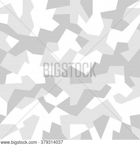 Monochrome Geometric Camouflage For Army, Hunting And Other Use.  White Snow Camo, Seamless Texture.