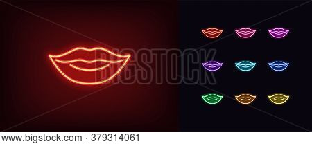 Red Neon Lips Icon. Glowing Neon Woman Lips Sign, Girl Mouth In Vivid Colors. Sexy Lip Shape, Woman
