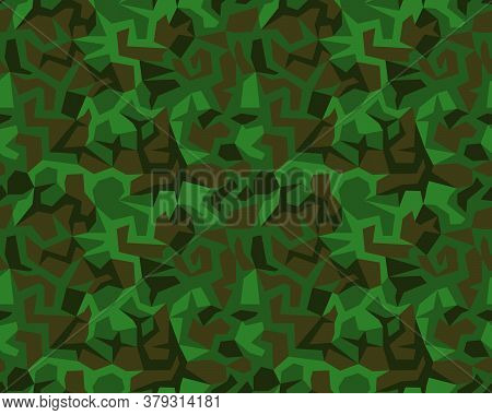Vector Geometric Camouflage Seamless Pattern. Urban Khaki Design Style For T-shirt. Military Texture