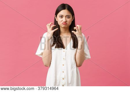 Beauty, People Emotions And Summer Leisure Concept. Mad And Tensed Young Asian Woman Losing Control