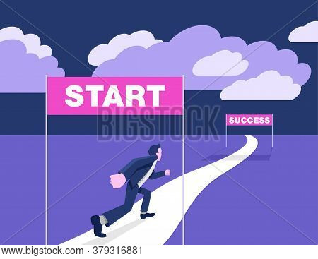 Business Strategy Start Up - Working Career Way From Start To Success (wealth) - Businessman Running