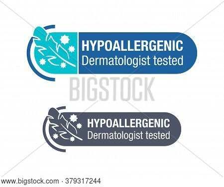 Hypoallergenic Tested Sign - Horizontal Stamp With Feather And Irritants - Package Warning Label Or