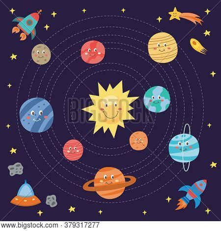 Cute Planets Drawing For Children - Cartoon Galaxy Universe Themed Card With Smiling Parts Of Solar