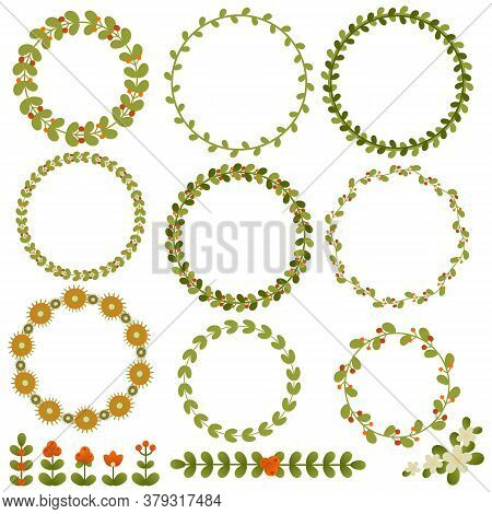Round Floral Vector Frames And Other Elements For Summer Design. Eps 10