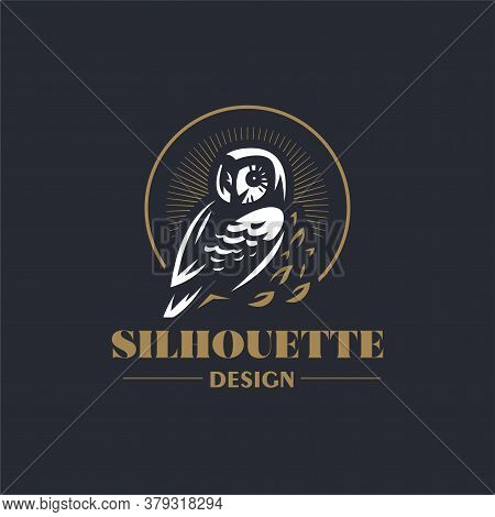 The Owl Sits On A Branch And Turns Its Head. Stylized Vector Illustration.