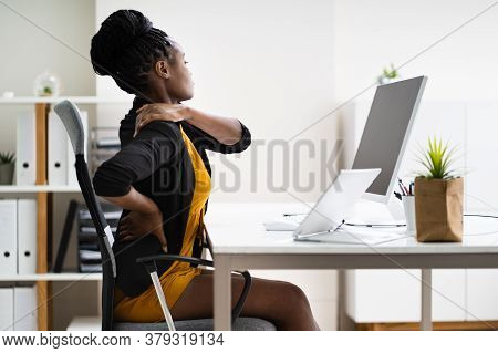 Back Pain Bad Posture Woman Sitting In Office