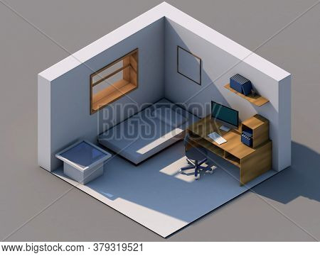 3d Render Isometry Of A Living Room With A Table, Computer, Chair, Pedestal
